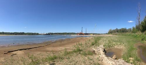 Panorama przyszłego Mostu Południowego z wschodniego brzegu Wisły