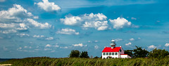 East Point Light House (JBayPhotographie) Tags: cape may nature sea grass clouds cloud red white blue tree wind lighthouse light house