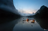 "Dawn  II Yangshuo-Guilin 桂林漓江 ""人生過客匆匆,相機抓住每個剎那,與我擦肩而過的人和事"" (CK NG (choookia)) Tags: dawn yangshuo guilin 桂林 漓江 sonya9 sonyfe1635mmf4 travel river fisherman boat"