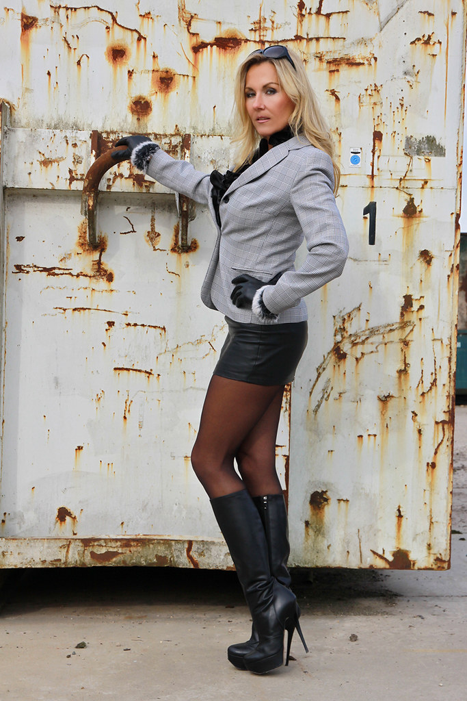 Blonde milf leather boots