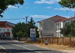Purgatory (john atte kiln) Tags: purgatório albufeira portugal village road houses bend roadsign weird unexpected telephonewires cables purgatory