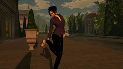 Getting a prim stuck in your shoe (alexandriabrangwin) Tags: alexandriabrangwin secondlife 3d cgi computer graphics virtual world photography angel manor estate sim french chateau style grounds garden shiny black crocodile leather pants aubergine shirt high stiletto heels reaching clearing stuck shoe woman early evening marble columns gazebo dome trees shrubs hedge hair updo fountain water