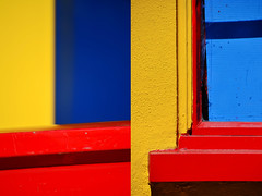 Pattern recognition (James_D_Images) Tags: montage colour vivid primary colours yellow red blue window wall shadow pattern line abstract
