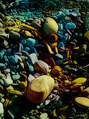 On the Shores of My Imagination (Steve Taylor (Photography)) Tags: art digital colourful stone gravel pebble rock newzealand nz southisland canterbury christchurch beach lines texture surreal