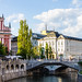 Franciscan Church of the Annunciation and the Triple Bridge in the Center of Ljubljana, Slovenia