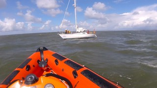 Rescue of yacht with ripped sails South of Nash Point