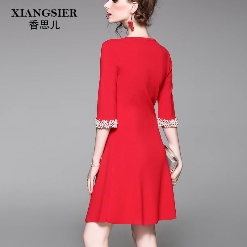 Herbst der großen roten kleid 2017 neUe WEIBLICHE SLIM Sieben - punkte - am strick - kleid War dünn, die Lange röcke