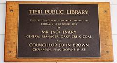 Tieri Library 2017 (Central Highlands Regional Council Libraries) Tags: tieri queensland centralqueensland centralhighlands library publiclibrary placard 1991 jackemery oakycreek peakdowns