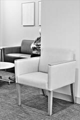 A PATIENT, PATIENT (panache2620) Tags: patient waitingroom urban indoors bw monochrome alone utilitarian sterile city medicalcenter universityofminnesota
