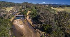 Bridge over Wapengo (OzzRod) Tags: dji phantom3advanced drone quadcopter djifc300s36mmf28 aerial oblique riparian vegetation farmland grazing sandbar creek bridge road wapengo