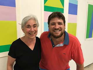 Artist Karen Rifas at her awesome PER FORMS' opening with Brook Dorsch founder of Emerson-Dorsch.