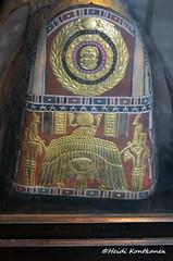 Gilded decoration on a mummy mask (konde) Tags: mummymask romanperiod romanera ancientegypt art wadjet nekhbet twoladies whitecrown redcrown scarab gilded meir