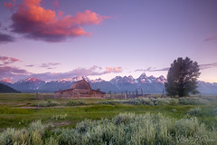 Sunrise at Moulton Barn on Mormon Row (KJRphotoz) Tags: grandtetonnationalpark tetonnationalpark tetons mountains nature landscape usnationalparks outdoor sky wyoming clouds serene sunrise moultonbarn mormonrow barn corral