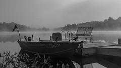 Misty Morning in the Adirondacks (LDMcCleary) Tags: blackandwhite adirondacks mist lake boat dock morning lakeabanakee