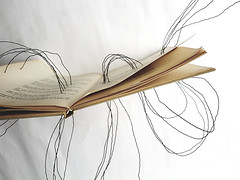 storylines (Ines Seidel) Tags: wire book altered story storytelling lines draht buch buchkunst object experimental doodle waves linien alteredbook bookart