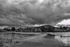 Dry lagoon (Ian@NZFlickr) Tags: waikouaiti lagoon dry mud lacking birds hill clouds sky drama hot spring weather otago nz