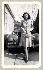 "1938 Ford De Luxe (Vintage Cars & People) Tags: vintage us usa america vintageusa classic black white ""blackwhite"" sw photo foto photography automobile car cars motor vehicle antique auto girl woman lady 1938 ford deluxe fordv8 v8 flathead helen residentialstreet suburbia"