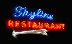 Skyline Restaurant Neon Sign (Greg's Southern Ontario (catching Up Slowly)) Tags: nikon nikond3200 sign restaurantsign parkdale torontorestaurant torontoist neon neonsign torontoneon neoncanada 1426queenstreetwest queenstreetwest skylinerestaurant skylinerestaurantneonsign vintageneonsign