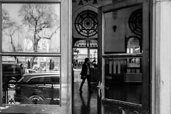 """fore""sight vs ""hind""sight / ever open door (Özgür Gürgey) Tags: 2017 50mm bw d750 nikon sirkeci blur door glass open reflection trainstation istanbul"