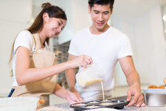 0008 (Mangpink) Tags: food couple kitchen cookies cooking people making happy woman adult lifestyle young bowl preparation caucasian female smile man home relationship wife husband homemade baking preparing rolling love fun brown male looking smiling meal family two table indoor domestic egg pour marry