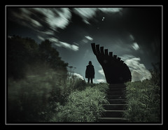 Lost My Wings (Fotogravirus) Tags: lostmywings fotogravirus flevoland art condeptualart nd1000 neutraldensity longexposure knightx knightxfilter silhoutte figure person clouds sky stairs tree