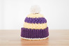 Luxe Kids Beanie - Los Angeles Lakers (xmoonbloom) Tags: crochet hats kids babies cotton toddlers beanies toques crafts etsy gifts accessories purple yellow stripes pompoms