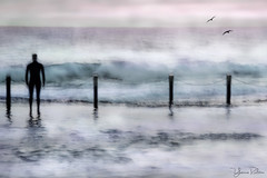maroubra magic . . . (YvonneRaulston) Tags: surf surreal australia nsw maroubra atmospheric moody person ocean sea water birds dawn art photoshopartistry creativeartphotography pink sunrise calm peaceful