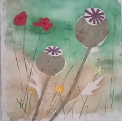 Poppy Field. Fabric art. (Louise Neville) Tags: poppyheads poppies popppyfield fibreart fabricart