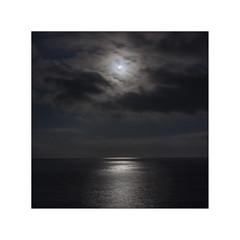 Moon.    ( L´Atmella de Mar ) (José Luis Cosme Giral) Tags: moon sea moonlight water reflections clouds minimal cuadrado 1x1 marcoblanco minimalismo luzdeluna canon eos 50d l´atmellademar tarragona cataluña