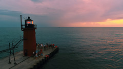 South Haven Lighthouse 1 (08 10 2017) (PhotoDocGVSU) Tags: phantom4professional drone uav aerialphotography sunset colors southhavenmi greatlakes lakemichigan lighthouse puremichigan