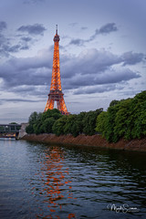 Classical Eiffel tower (marko.erman) Tags: eiffel tower paris seine river city cityscape famous travel popular outside cruising france reflections dusk evening lights water sony architecture metal sky clouds