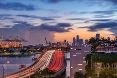 Rush hour (karinavera) Tags: city longexposure night photography cityscape urban ilcea7m2 sunset miami bridge