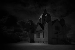 Cult. (Fistfulofpowder) Tags: history old church alberta black white light dark shadows gothic kopernick natural concrete onion dome domes crosses holy religious religion parish house god windows stairs ukrainian bw mono monochrome nikon d80 converted infrared ir lifepixel conversion supercolorir super color outdoor contrast sky clouds skies cloudporn skyporn awesome field decay dof creepy eerie dramatic ominous thephotoargus stone edmonton photographer photography yegphotographer