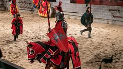 An impressive red knight. (kuntheaprum) Tags: medievaltimes dinnershow horse sword lance joust nikon d750 sigmaart 50mm f14