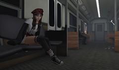 last train ... (Larah Sa'fir) Tags: cute girl subway tube metro late night fear hank