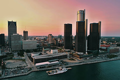 The Big D (08 20 2017) (PhotoDocGVSU) Tags: aerialphotography phantom4pro drone uav sunset twilight windsordetroit canadaus detroitriver buildings cityscape urban detroitmi