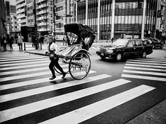 Old and new transportation | Japan (-Faisal Aljunied - !!) Tags: juxtaposition transport taxi rickshaw ricohgr japan tokyo streetphotography faisalaljunied japanese