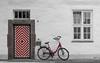Einz (Jorden Esser (on a break)) Tags: number1 amtsgericht bicycle ddd diamondpattern districtcourt kleef kleve selectivecolours thursdaydoorday thursdaydoorsday wall windows doorknob redwhite pattern housenumber1 dermarstall cleves