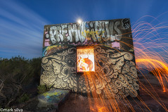 sun will sink and we'll get out the door (mark silva) Tags: manlybunker northhead sydney nsw australia lightpainting paintingwithlight torch flashlight lumecube woolspin fullmoon moonlight graffiti canon