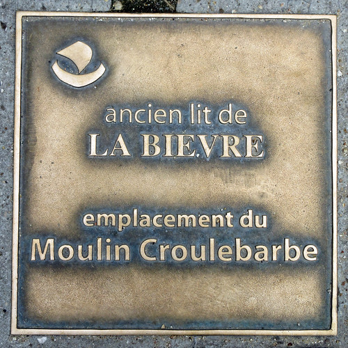 Ancien lit de la Bievre, emplacement du Moulin Croulebarbe - sidewalk plaque, rue de Croulebarbe at the entrance to the Square René le Gall, Paris 13th arr