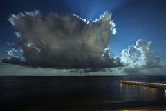 Moon Beams (lightonthewater) Tags: panamacitybeach pier clouds cloudy moon moonbeams storm beach ocean gulfofmexico stars night long exposure longexposure florida