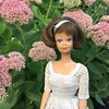 In the garden (Foxy Belle) Tags: sedum pink flowers fall bloom zone 5 perennial doll midge vintage american girl crochet dress outside nature outdoors