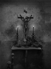 Prayer (Seeing Visions) Tags: 2017 photocollage argentina ar buenosaires recoleta cementeriodelarecoleta cemetery graveyard masoleum crypt table candlestick candle lit flame crucifix chalice religion religious christian stained monochrome bw raymondfujioka 123bw