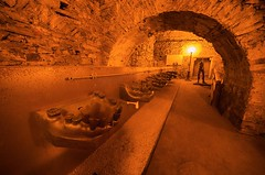 When bathroom bites (Jumpin'Jack) Tags: bathroom sink tooth teeth creepy scary weird bizarre unease art sculpture painting exhibition underground dungeon bare stone walls water pipe drain medieval castle hrad zamek český krumlov czech republic architecture ultrawide lens sigma 816mm