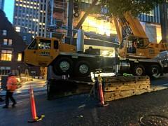 Crane setup on a steep grade: Columbia Street. (Seattle Department of Transportation) Tags: seattle sdot transportation donghochang crane setup steep grade columbia street construction whoa