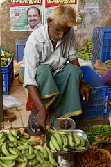 Weighing bananas, the bazaar, Ernakulam (Yekkes) Tags: asia kerala india ernakulam henna market bazaar bananas merchant green posters crates scales
