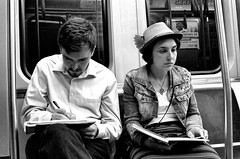 Younger Couple - Red Line Train (draketoulouse) Tags: chicago loop cta redline street streetphotorgaphy train subway transport couple man woman blackandwhite monochrome city urban
