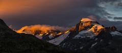 Gallenstock sunset (Brunzolini) Tags: gallenstock switzerland sunset grimselpass grimsel uri sonnenuntergang clouds orange snow mountain peaks alps alpen bergpanorama brunzo lini sunrays glow