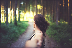 Wherever you go... (der_peste) Tags: woman hand forest bokeh dof depthoffield women wife girl pointofview sonya7m2 sel35f14z 35mm f14 woods woodland timberland people portrait