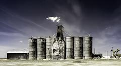 Arapahoe, Colorado (unknown quantity) Tags: sky clouds railroadtracks rust deterioration trees utilitypoles shadows weathered neglect abandoned corrugated oxidation crumbling exposedwood unpaintedwood fadedpaint peelingpaint cloudsstormssunsetssunrises hss abigfave